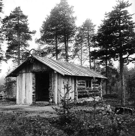 Toimittaja Jorma Ollikainen rakensi ystävineen erakolle kelokämpän, joka yhä seisoo Rahajärven rannalla varaustupana.