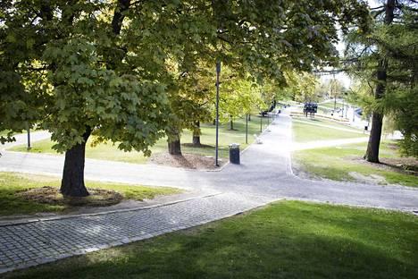 Koskipuistossa on lukuisia risteäviä polkuja.