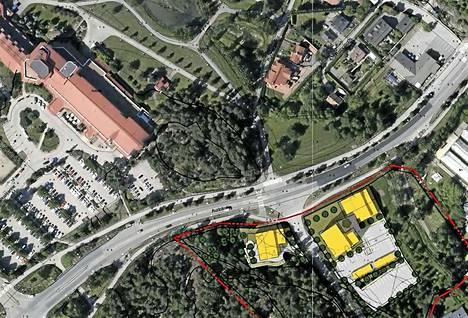 Havainnekuvassa uudet kerrostalot on merkitty keltaisella. Kuvan vasemmalla ylhäällä on nykyinen kylpylärakennus