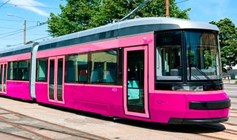 Raitiovaunu voisi näyttää tältä pinkkinä. Vaunuista ei kuitenkaan tule pinkkejä vaan punaisia.
