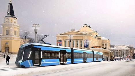 Raitiotie havainnekuvassa. Tältä Tampereen ratikka näyttää Keskustorilla.