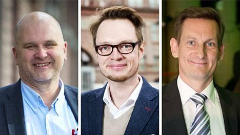 Vasemmalta oikealle ovat Aamulehden väistyvä vastaava päätoimittaja Jouko Jokinen, Aamulehden vt. vastaava päätoimittaja Jussi Tuulensuu ja Alma Median toimitusjohtaja Kai Telanne.