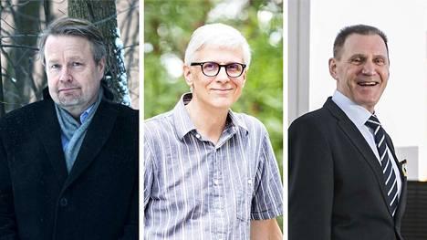 Vasemmalta oikealle ovat Elinkeinoelämän valtuuskunnan johtaja Matti Apunen, Tampereen piispa Matti Repo ja vuorineuvos Kari Neilimo.