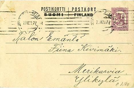 Kirjeen lähettäneen Friidun kaunis käsiala on tallentunut vuonna 1920 lähetettyyn kirjeeseen. Päiväys on 21. joulukuuta.