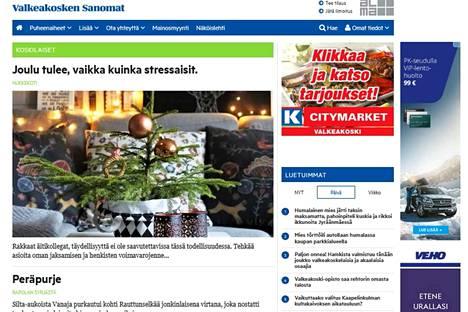 Osoitteessa valkeakoskensanomat.fi/koskilaiset käy jo vilske. Heidi kirjoittaa jouluun valmistautumisesta, Pekka Turtiainen kertoo veneilystä Vanajalla.