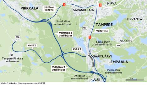 Valtatie 3:n oikaisu Helsingin moottoritieltä Lempäälästä Pirkkalaan oikaisee kuutisen kilometriä. Kehä 2 tuo suoran yhteyden lentokentälle Hervannan ja Sääksjärven suunnasta, ja aikanaan jopa Kangasalta asti.