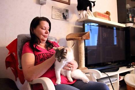 Minna Serula asustaa kaksiossa seuranaan viisi kissaa.