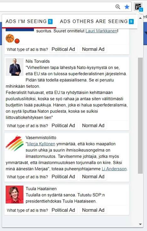 Vasemmanpuoleiseen valikkoon kerätään sinulle näytetyt mainokset, oikeanpuoleisessa voit tutustua siihen, millaisia mainoksia muille näytetään. Autat luokittelemalla mainokset poliittisiin ja ei-poliittisiin mainoksiin.