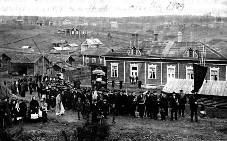 Tältä näytti Nokian työväentalo 1900-luvun alussa.