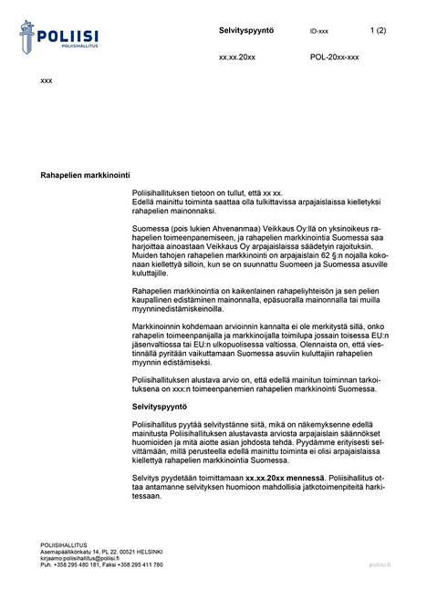 Tällainen kirje poliisihallitukselta on lähtenyt lukuisille maltalaisen peliyhtiön nettikasinon pelejä hehkuttaneille julkkiksille. (Voit avata kuvan suuremmaksi klikkaamalla sitä)