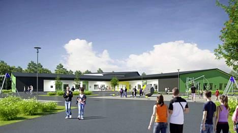 Havainnekuva syksyllä 2019 valmistuvasta Pohjoiskehän koulusta. Hintaa rakennukselle tulee noin 19,5 miljoonaa euroa.