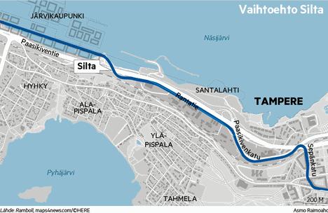 Silta-vaihtoehdossa ratikka kulkee Paasikiventien yli siltaa pitkin.
