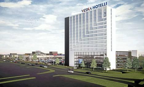 Hotelli näyttäisi tältä Tampereen messu- ja urheilukeskuksesta Partolaan saavuttaessa.