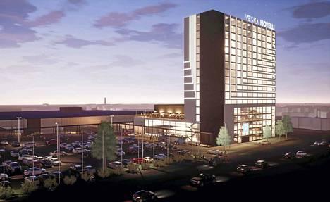 Saapastietä kohti Tampereen messu- ja urheilukeskusta ajettaessa Veskan piha näyttäisi tältä hotellin kera.