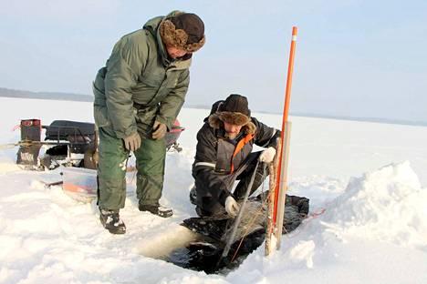 Verkoilla voi kalastaa talvellakin, kunhan muistaa merkitä verkkojen avannot heijastavilla kepeillä. Taisto Lumme ja Raimo Nieminen käyvät katsomassa verkot kaksi kertaa viikossa.