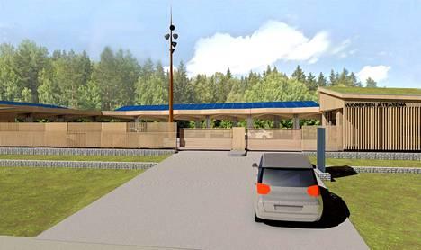 Näkymä sisääntulosta. Vuoreksen jäteasema rakennetaan puusta.