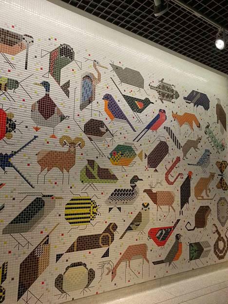 Seinämät tarjoavat mahdollisuuksia vaikka mosaiikkipinnoille. Kuvassa Charley Harperin (1922–2007) teos Cincinnatissa, Yhdysvalloissa.