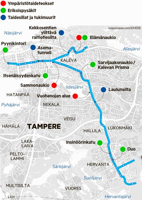 Tampereen raitiotien taiteen yleissuunnitelmassa (2017) käsitellään raitiotiereittiä keskustassa, Taysin alueella ja Hervannassa. Suunnitelmassa on paikkansa taidesilloille ja -tukimuureille, ympäristötaiteelle ja erikoispysäkeille.