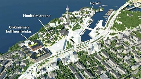 Uusi monitoimiareena esitetään sijoitettavaksi Mustanlahden pohjukkaan rakentuvan hotellin ja Onkiniemen tehdasrakennuksen väliselle alueelle.