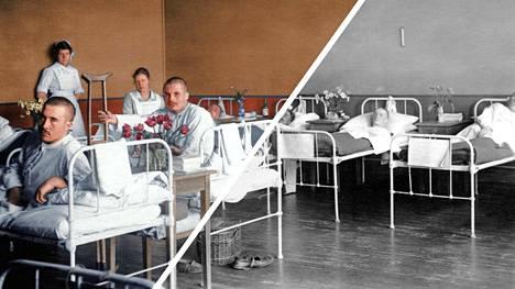 Vuoden 1918 valokuvat heräävät uudella tavalla eloon, kun ne näkee väreissä. Tämä kuva on Punaisen ristin kenttäsairaalasta. Kuvan väritys: Jussi Luostarinen