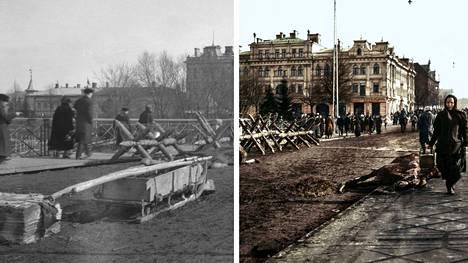 Tältä näytti Tampereen Hämeensillalla taistelujen päätyttyä vuonna 1918. Kuvan väritys: Jussi Luostarinen