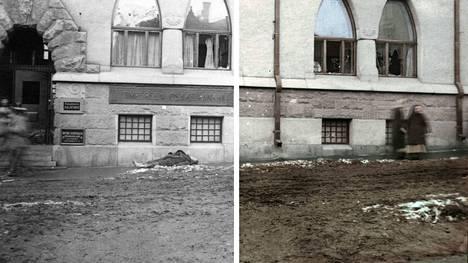 Kuva on otettu Tampereen keskustassa Kauppakadulla vuonna 1918. Kuvan väritys: Jussi Luostarinen
