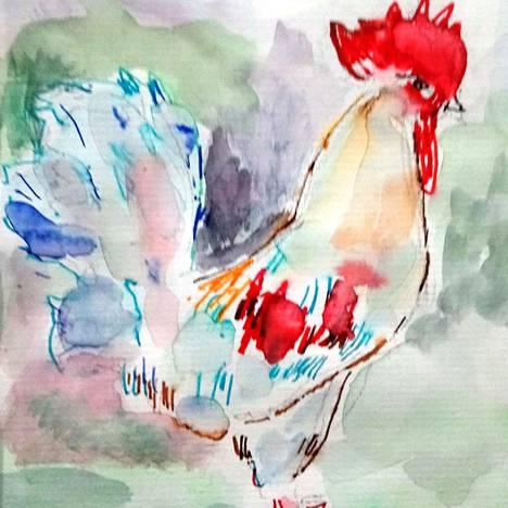 Kukko on myös esillä näyttelyssä. Sen on maalannut Eira Mäenpää.