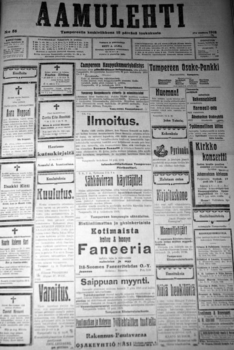 Aamulehden etusivu oli vielä 1900-luvun alussa pyhitetty kuolinilmoituksille ja mainoksille. Etusivulla kerrotaan muun muassa, että sotasaaliin talteen ottamista varten on perustettu oma saalisosasto. Etusivulla mainostetaan myös esimerkiksi saippuaa ja vaneria.