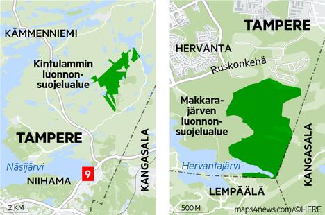 Tampereen Kintulammille avattiin tänä keväänä luonnonsuojelualue. Myös Hervannan Makkarajärvelle kaavaillaan luonnonsuojelualuetta.