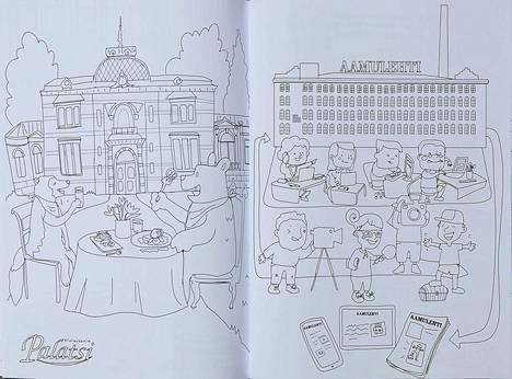 Värityskirja laajentaa lasten tietoa elinkeinoelämän laajuudesta. Tässä kuvassa on Aamulehden toimitalo Keskustorin pohjoispäässä.