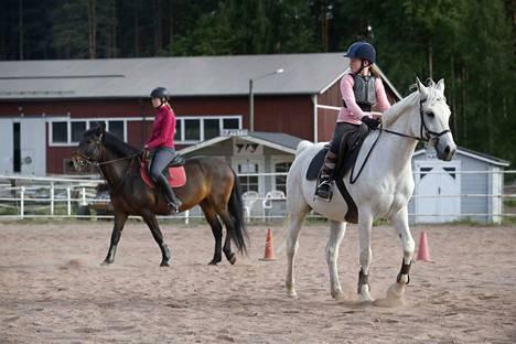 Valkoisen ratsuponi Le Pickin ratsailla 11-vuotias Riikka Laukkanen. Riikka on käynyt tallilla muutaman vuoden ajan, mutta vielä ei ole tiedossa, missä harrastus jatkuu syksyllä.