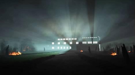 T.E.H.D.A.S.: Radio tekee murhan, K.K.: tutkimuksia, osa 1, 2018, kuvakaappaus tilateokseen sisältyvästä videoanimaatiosta. Valokuva: T.E.H.D.A.S.
