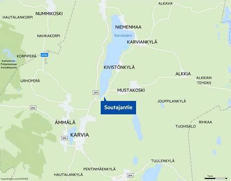 Ulosajo tapahtui lähellä Soutajantien ja Alkkiantien risteystä.