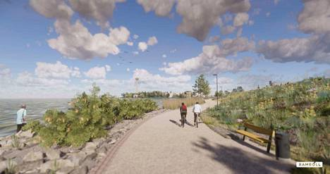 Puiston reunamilla mutkittelee kevyenliikenteen väylä. Ihmisten kannattaakin suosia niitä jatkossa, sillä henkilöautoille ei ole pysäköintitilaa puistossa.