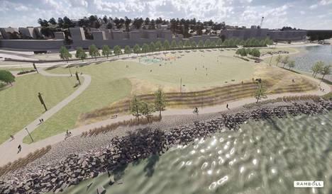 Tapahtumapuiston rantareitin ääreen tulee kumpuileva luonnonkatsomo, jota on jo ehditty muotoilla alustavasti. Kumpare myös suojaa puistoa järven tuulilta.