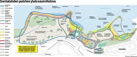 Suunnitelma Santalahden puiston rakenteesta. Klikkaa kartta suuremmaksi.