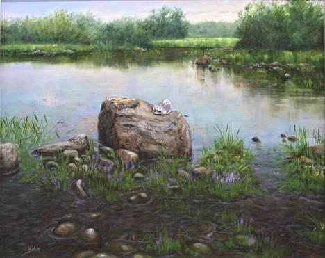 Satu Helle maalaa mielellään luontoa. Tässä Siesta-niminen työ.