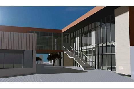 Havainnekuva Roukon yhtenäiskoulun uudisosasta kertoo, miltä rakennus näyttää ulkopuolelta. Suunnitelmat on tehnyt arkkitehtitoimisto Projekt Kuubis.
