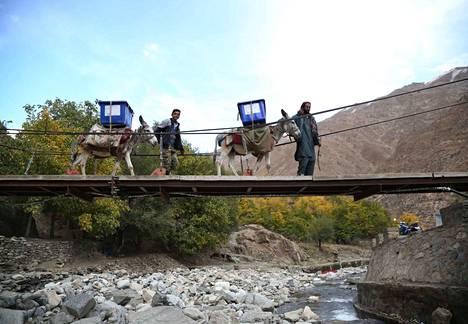 Toimitsijat kuljettavat vaalien aattona materiaaleja äänestyspaikoille Panjshirin maakunnassa, Itä-Afganistanissa.