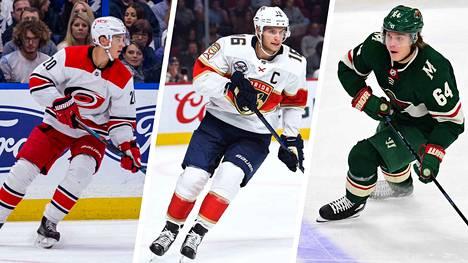 Suomalaiskiekkoilijoista liekeissä NHL:n lauantain kierroksella olivat muun muassa säkenöivä Sebastian Aho (vas.), Florida-kapteeni Aleksander Barkov ja vastustajan hämännyt Mikael Granlund.