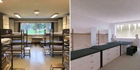 Vasemmalla vanhan mallinen tupa Rannikkoprikaatissa Upinniemessä, oikealla havainnekuva uuden konseptin mukaisesta tuvasta.