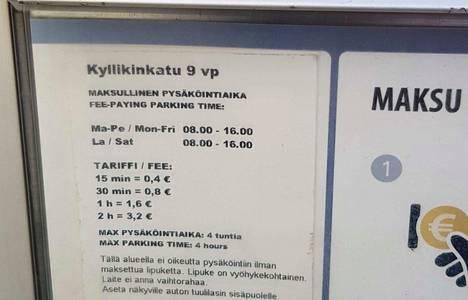 Kyllikinkadun automaatissa lukee Kyllikinkatu 9 vp, mutta se ei tarkoita sitä, että automaatti on tarkoitettu vain Kyllikinkadun parkkipaikoille.