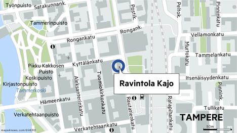 Ravintola Kajo sijaitsee Rautatienkatu 12:ssa.