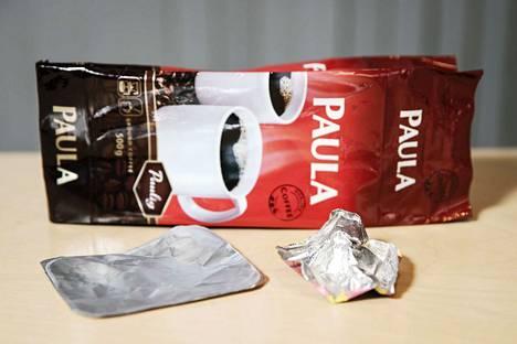 Kahvipaketti on klassikko. Se on kuitenkin muovia, ei metallia.
