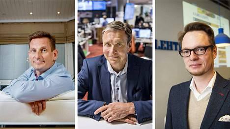 Kuvassa Alma Median toimitusjohtaja Kai Telanne, Alma Consumerin johtaja Kari Kivelä ja Aamulehden vastaava päätoimittaja Jussi Tuulensuu.