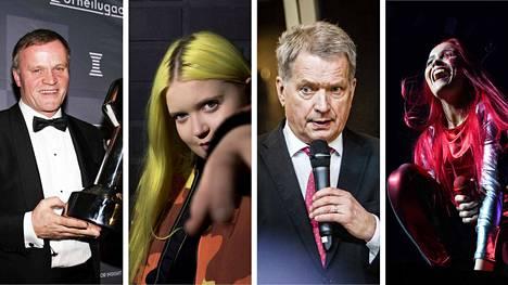 Verohallinto on julkaissut tänään vuoden 2017 julkiset verotiedot. Kuvassa rallilegenda Tommi Mäkinen, laulaja Alma Miettinen, tasavallan presidentti Sauli Niinistö ja laulaja Sanni.