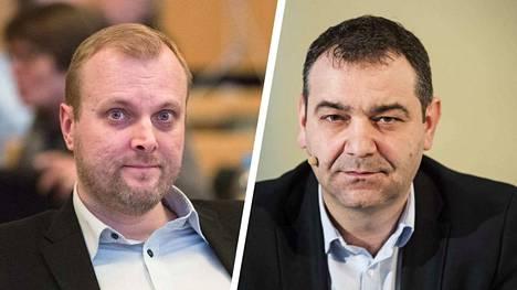 Pekka Salmi (kuvassa vasemmalla) valittiin sdp:n valtuustoryhmän uudeksi puheenjohtajaksi Atanas Aleksovskin tilalle. Aleksovski on saanut syytteen luottamusaseman väärinkäytöstä.