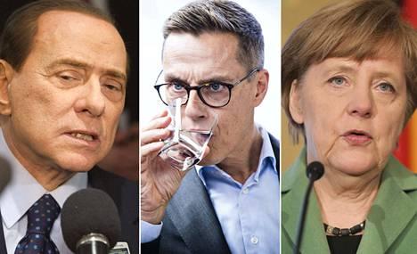 Silvio Berlusconi, Alex Stubb ja Angela Merkel ovat Helsingissä. Berlusconi on tuomittu talousrikoksista ja oikeus on estänyt häneltä politikoinnin. Se ei kuitenkaan moninkertaista pääministeriä haittaa. Merkel on ollut pitkään Euroopan vaikutusvaltaisin poliitikko. Stubbin mahdollisuuksia EPP:n kärkiehdokkaaksi ei pidetä kovin suurina.