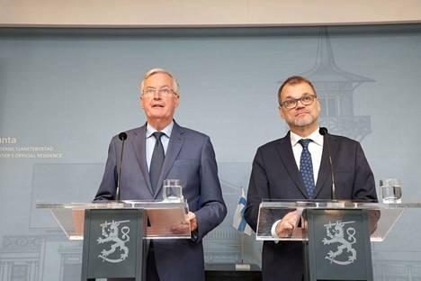 Pääministeri Juha Sipilä kommentoi sote-mietintöjen valmistumista EU:n brexit-pääneuvottelijan Michel Barnierin tapaamisen yhteydessä.