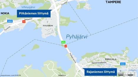 Ensimmäinen onnettomuuspaikka oli lähellä Rajaniemen liittymää Vaasan suuntaan ajettaessa.